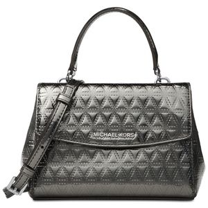 Michael Kors Ava Mini Gray Metallic Crossbody Bag